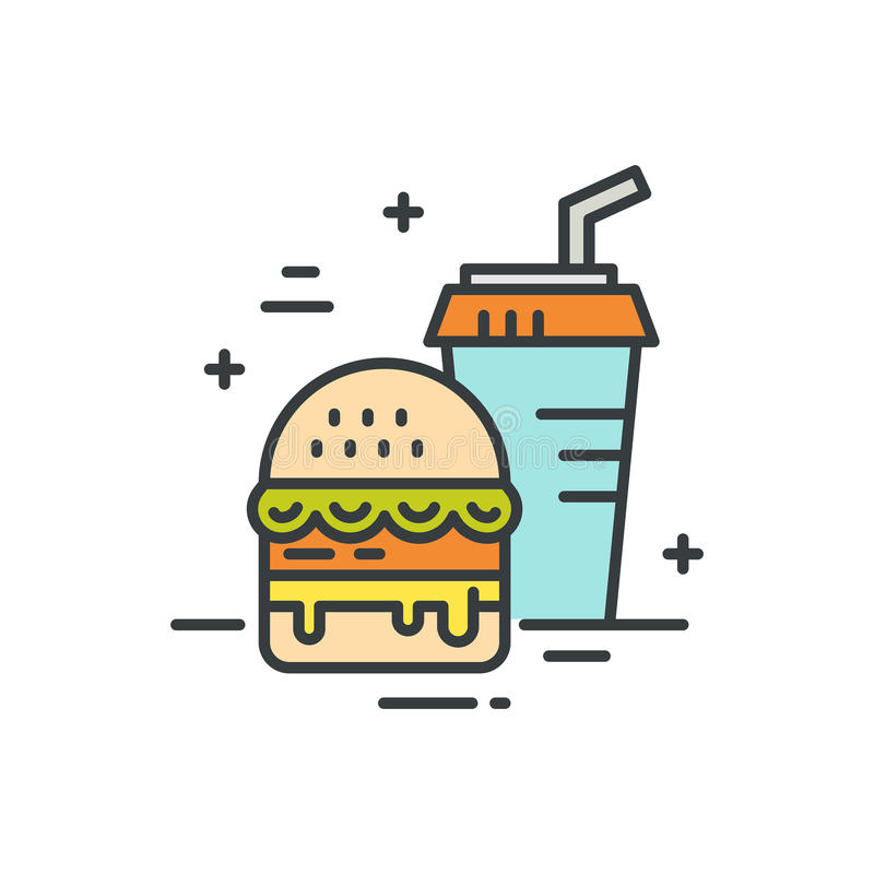 Fastfood Line Icon. Linear illustration of fastfood. Vector line style icon vector illustration
