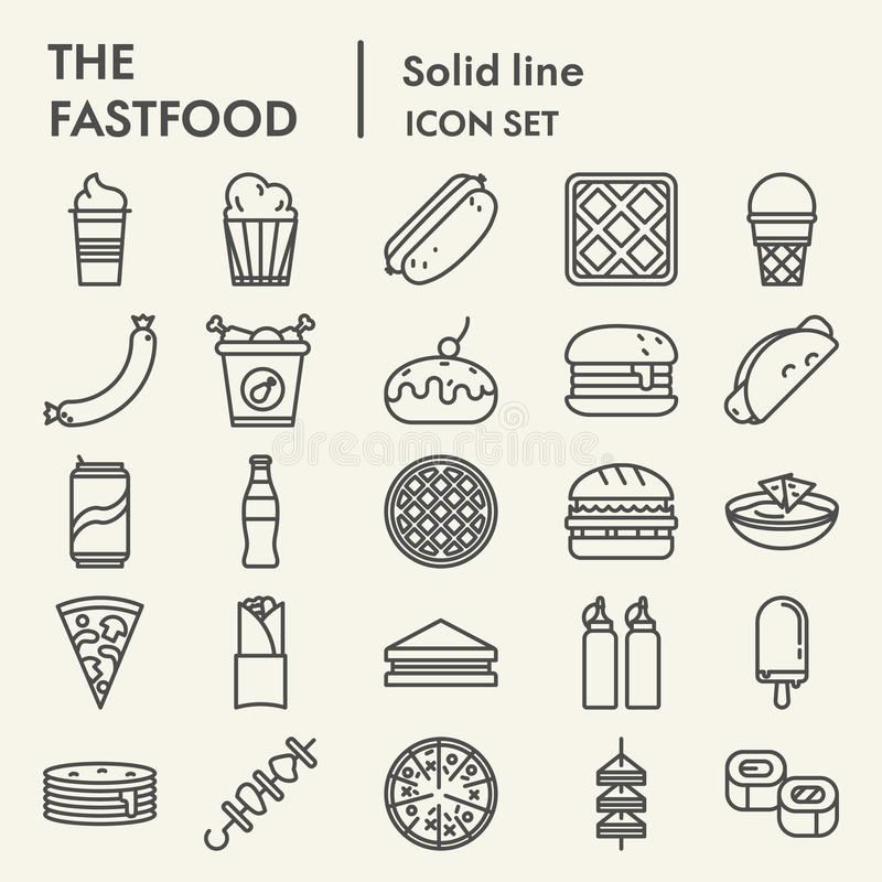 Fastfood line icon set, snack symbols collection, vector sketches, logo illustrations, eat signs linear pictograms vector illustration