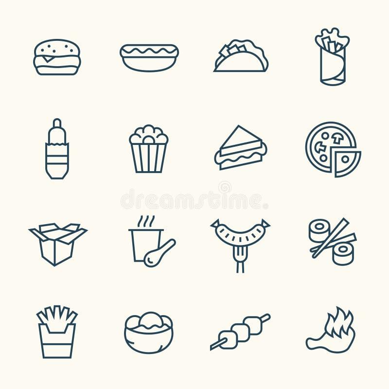 Fastfood line icon set. Vector Illustration vector illustration