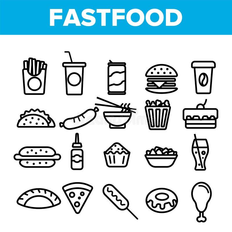 Fastfood Liniowe Wektorowe ikony Ustawiać Cienieją piktogram royalty ilustracja