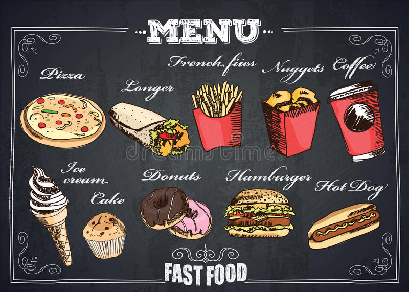 Fastfood menu. Fast Foods menu on chalkboard. Burger, pizza, ice cream and other fastfood product vector illustration