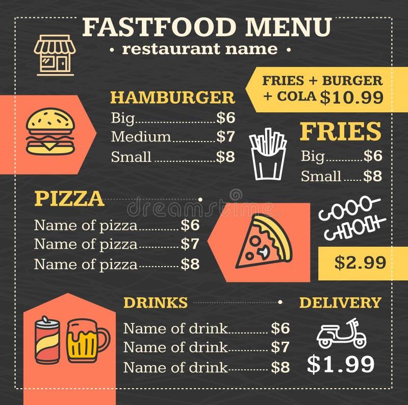 Fastfood Menu voor Restaurant of Koffieaffiche Vector vector illustratie