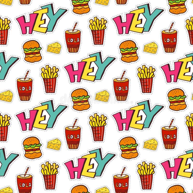 Fastfood naadloos patroon Heldere beeldverhaalachtergrond voor menudecoratie Vector ontwerp vector illustratie