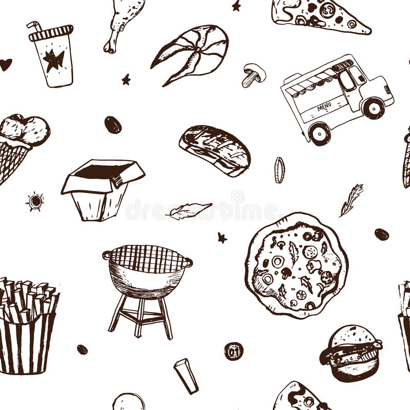 Fastfood naadloos patroon Menuachtergrond Vectorillustratie met aardige voedselkrabbels op wit royalty-vrije illustratie