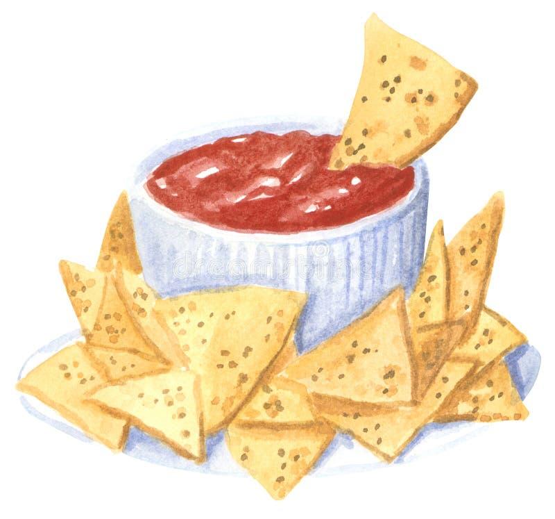 Fastfood nachos med tomatsause, utdragen vattenfärgillustration för hand royaltyfri illustrationer