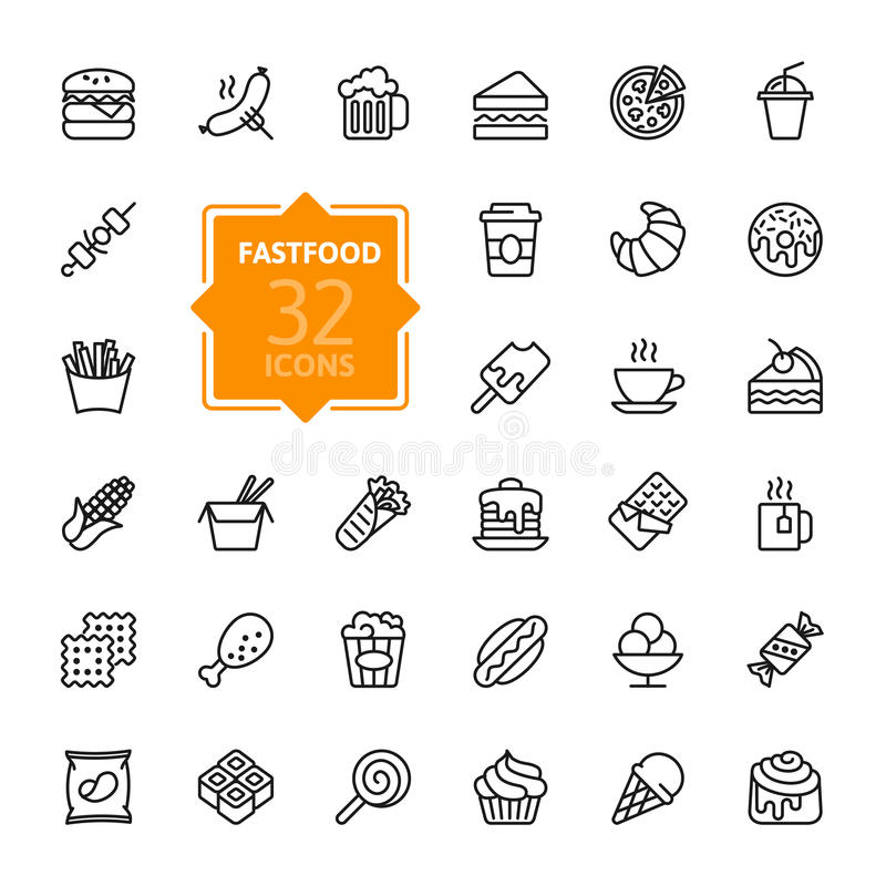 Fastfood - outline icon collection, vector. Thin lines web icons collection - Fastfood royalty free illustration