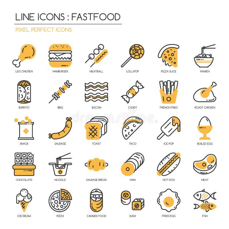Fastfood, pixel perfect icon. Fastfood, thin line icons set ,pixel perfect icon stock illustration