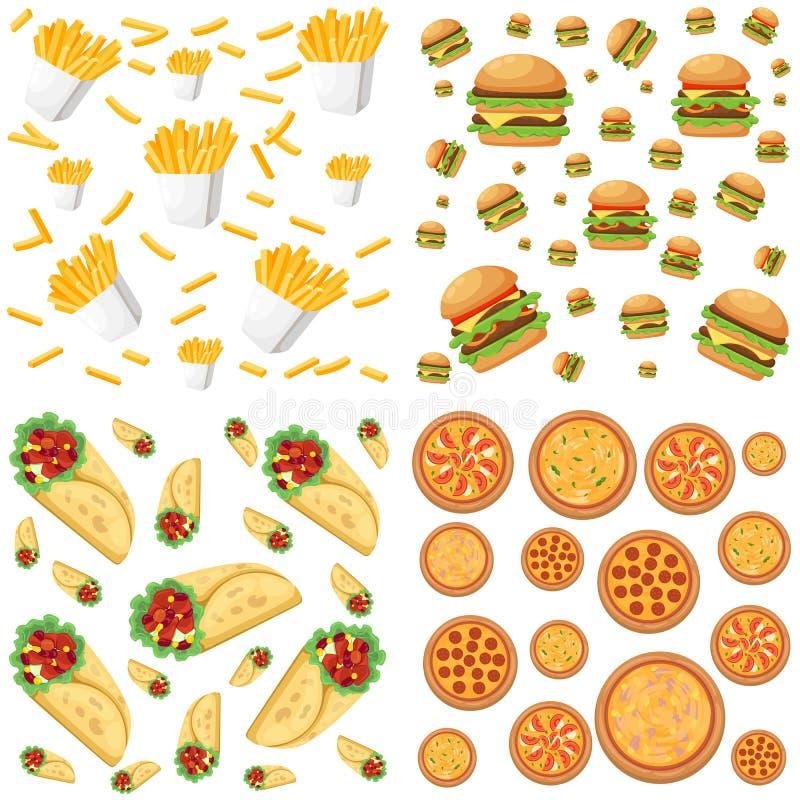 Fastfood restauraci kolorowego ramowego czarnego tła hamburgeru pizzy kanapki hotdog plakatowa ilustracja ilustracja wektor