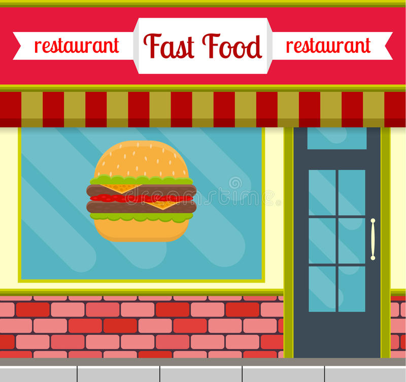 Fastfood restaurant building facade. vector illustration