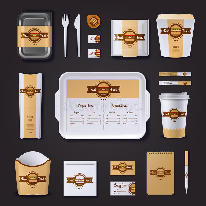 Fastfood Restaurant Corporate Design. With plastic and paper packaging and stationery on black background vector illustration vector illustration