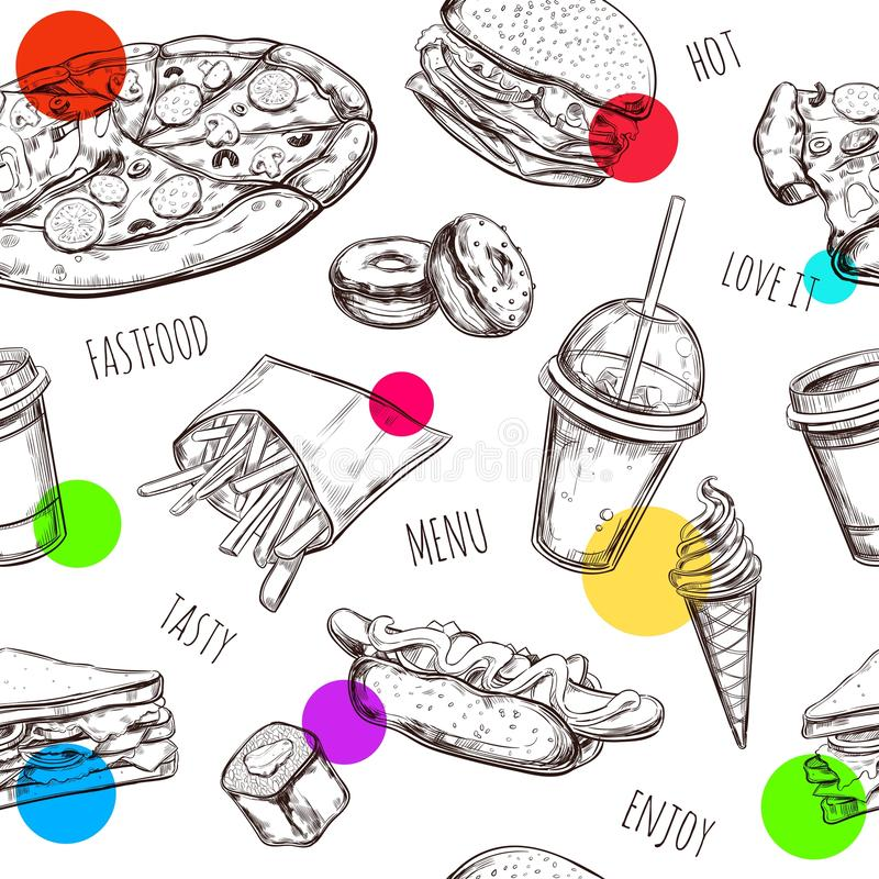 Fastfood seamless pattern. Hand drawn Isolated vector objects. Hamburger, pizza, hot dog, cheeseburger, coffee , ice stock illustration