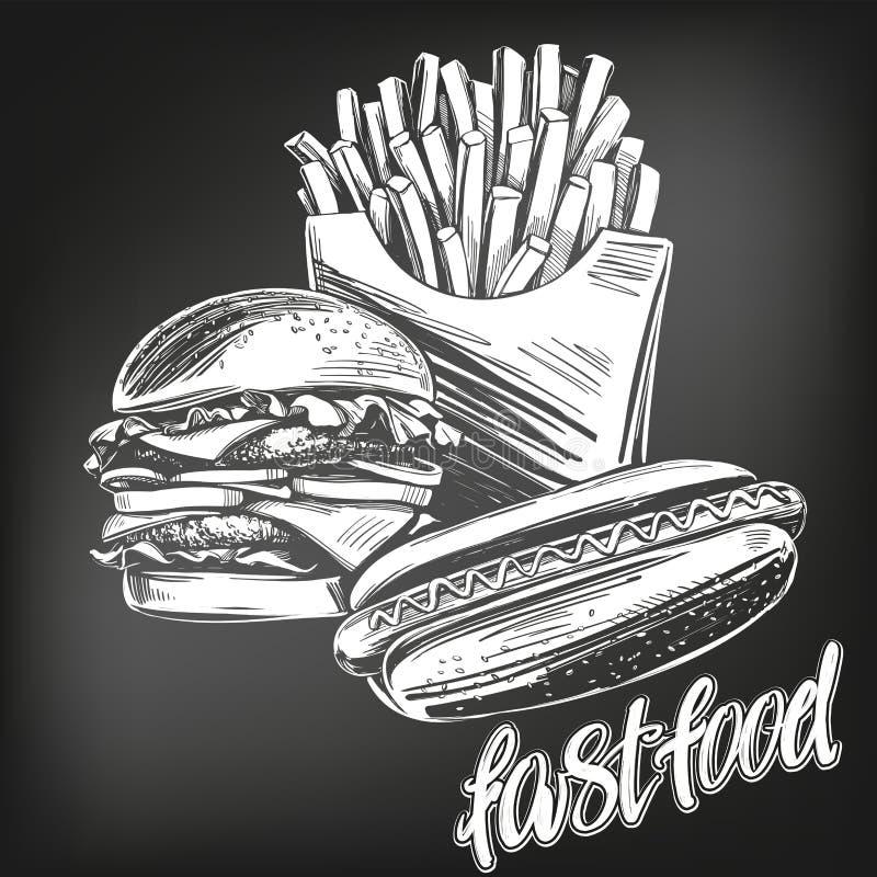 Fastfood set, francuz smaży, hot dog, hamburgeru loga ręka rysujący wektorowy ilustracyjny realistyczny nakreślenie, rysujący w k royalty ilustracja