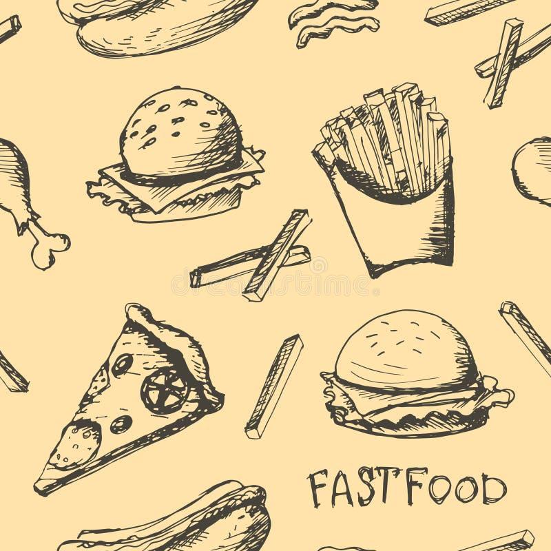 Fastfood set. Vector hand drawn fastfood seamless pattern stock illustration