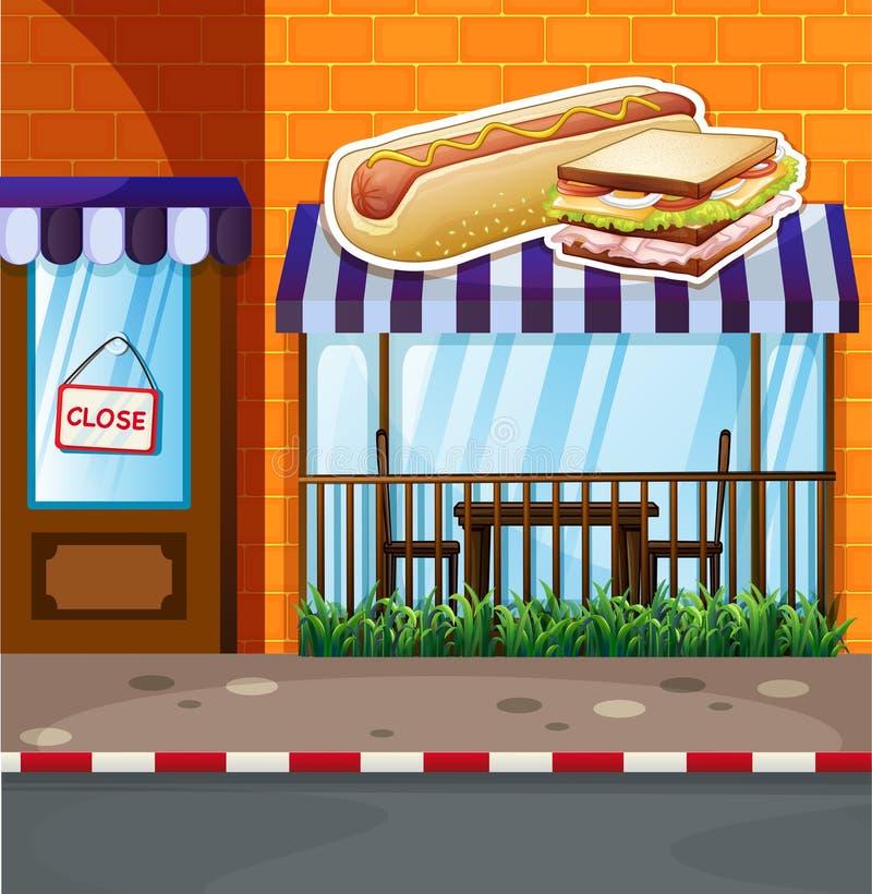 Fastfood shop by the street. Illustration vector illustration