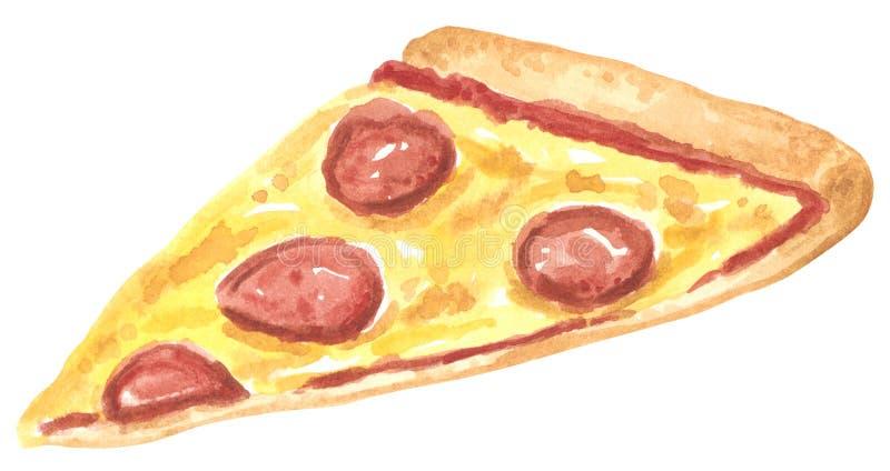 Fastfood skiva av fettig pizza, utdragen vattenfärgillustration för hand vektor illustrationer