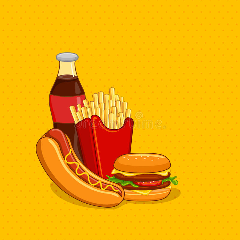 Fastfood with Soft Drink. Vector illustration of fastfood with soft drink stock illustration
