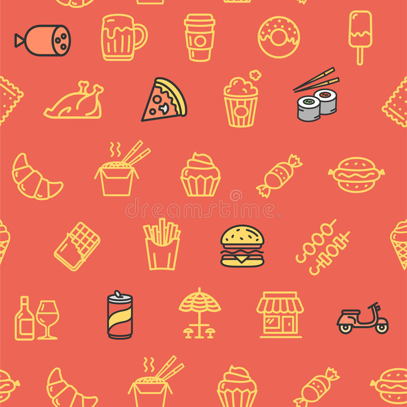 Fastfood and Street Food Pattern Background. Vector. Fastfood and Street Food Pattern Background on Red Hot Dog, Pizza, Sushi and Beverage. Vector illustration vector illustration