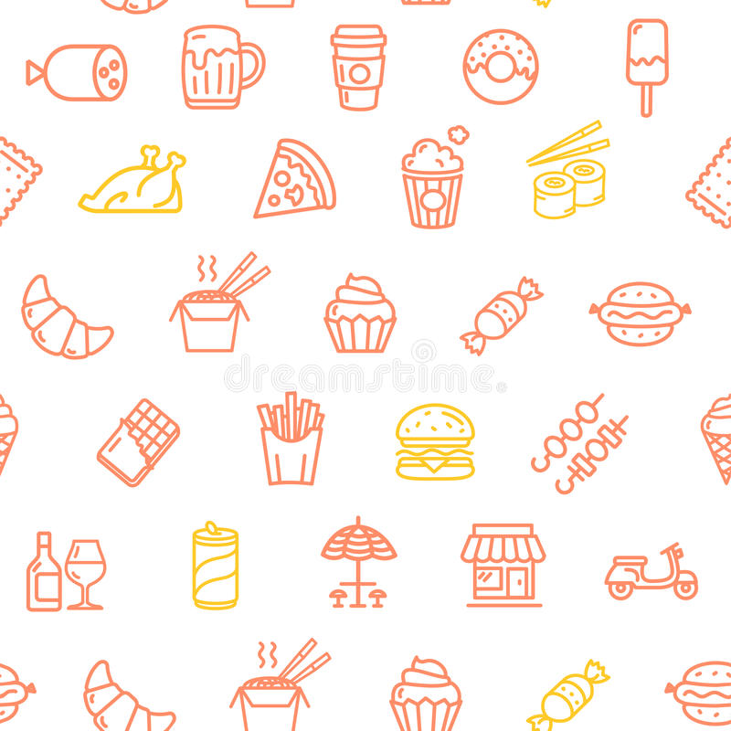Fastfood and Street Food Pattern Background. Vector. Fastfood and Street Food Pattern Background on White Candy, Drinks and Snacks. Vector illustration vector illustration