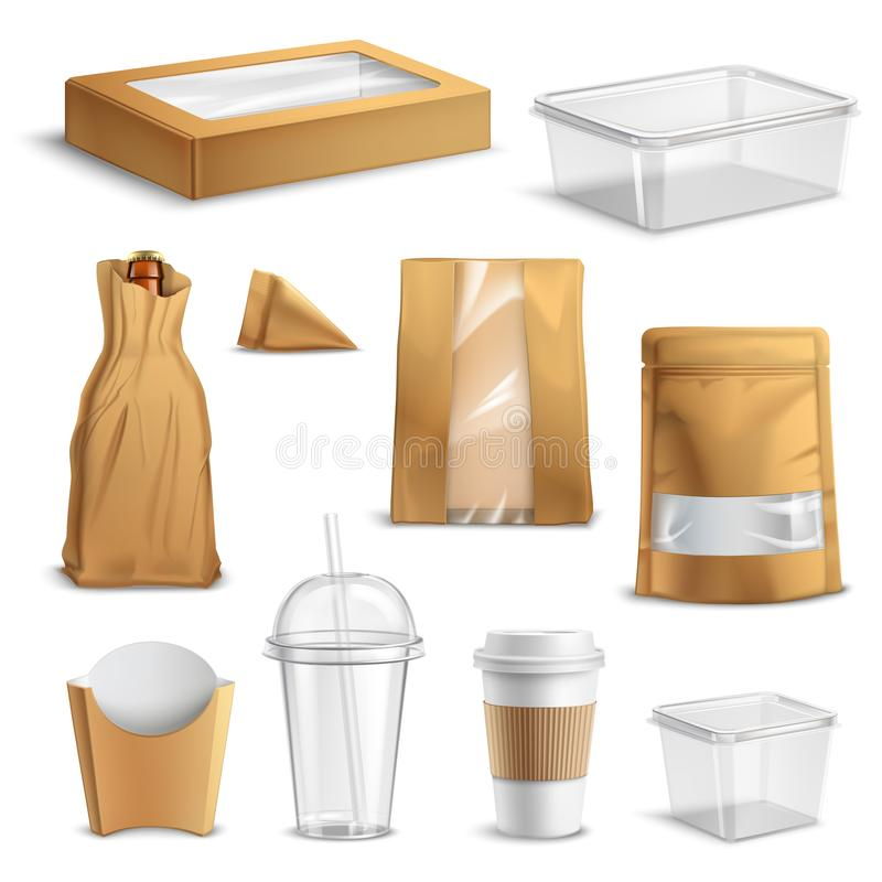 Fastfood Takeaway Packaging Realistic Set. Fastfood empty packages realistic set with clear plastic coke cup paper bags and containers isolated vector royalty free illustration