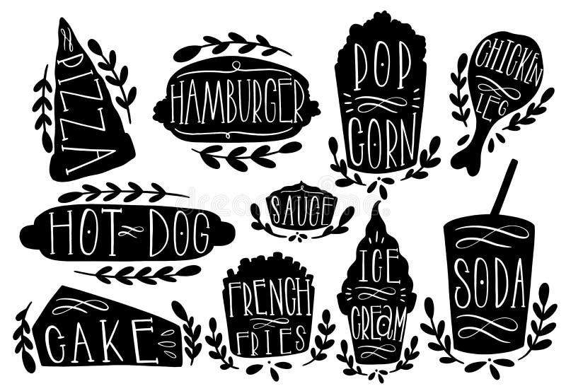 Fastfood ustalona wektorowa ilustracja Kształtuje tekst pizzę, hamburger, hotdog, popkorn, kiełbasa, frie, lody, soda Stemplowy i ilustracja wektor
