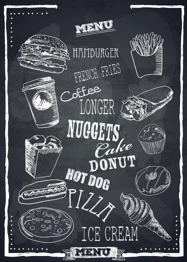 Fastfood vector menu. stock illustration