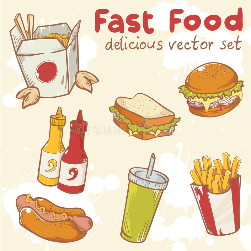 Fastfood vector set. Fastfood delicious hand drawn vector set with burger, hot dog and french fries royalty free illustration