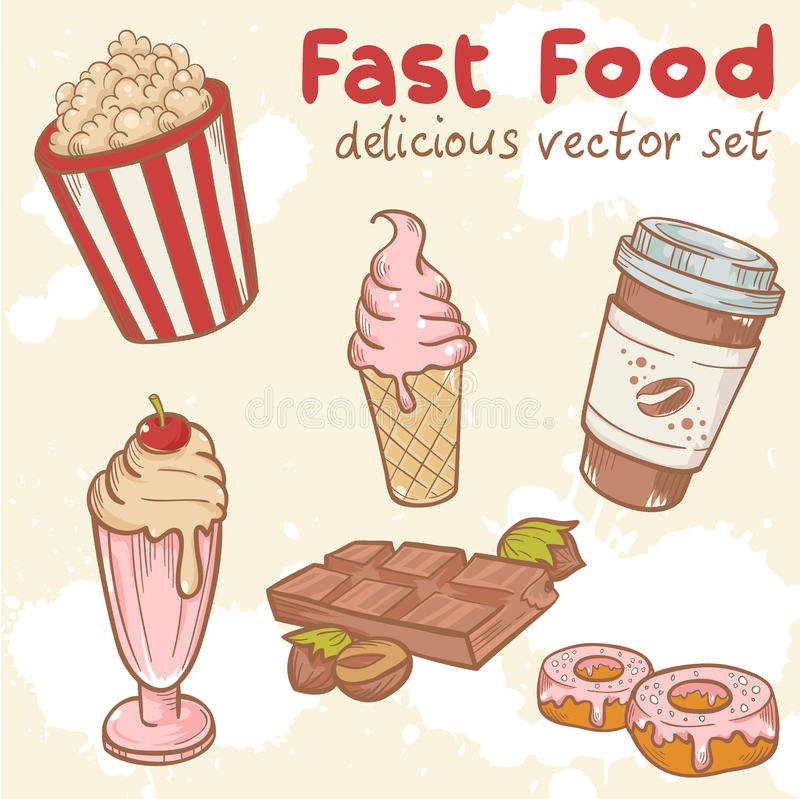 Fastfood vector set. Fastfood delicious hand drawn vector set with tasty sweets, ice cream, Popcorn and chocolate royalty free illustration