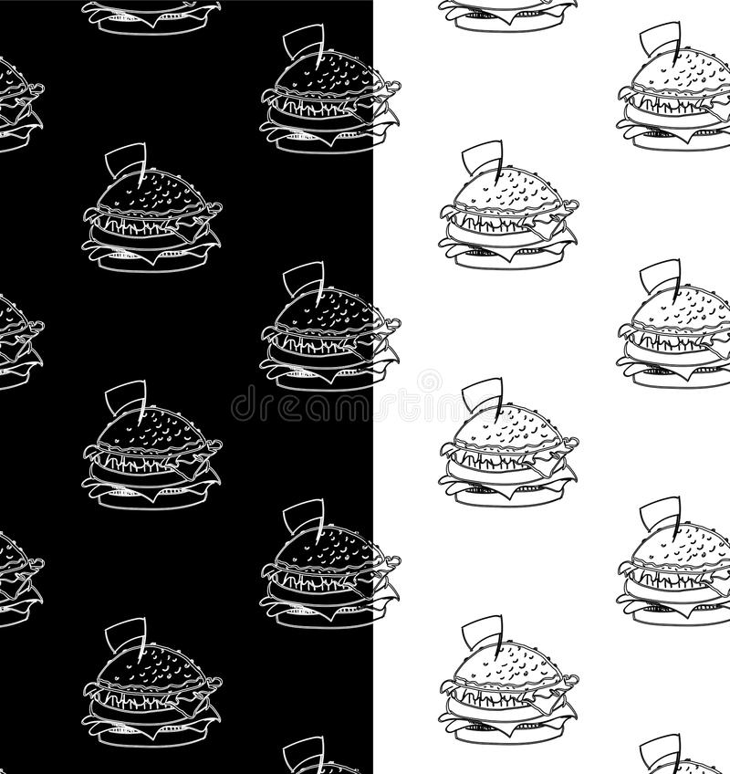 Fastfood zwart-witte patroonvector royalty-vrije stock foto's