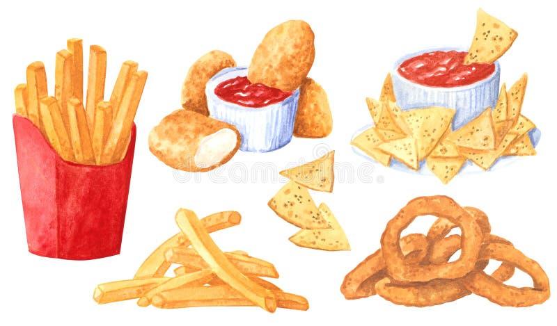 Fastfoodclipartuppsättning, franska småfiskar, lökcirklar, nachos och röd sause royaltyfri illustrationer
