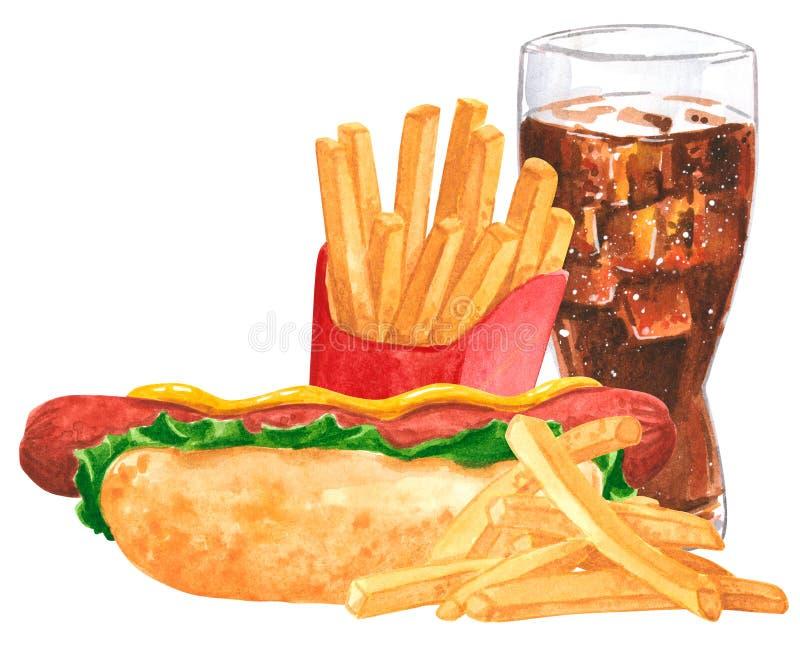 Fastfoodsatz, Würstchen, Senf, Ketschup, französische fies, Kolabaum stockbild