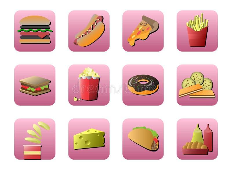 Fastfoodsymbolsuppsättning genom att använda som en website och en applikation stock illustrationer