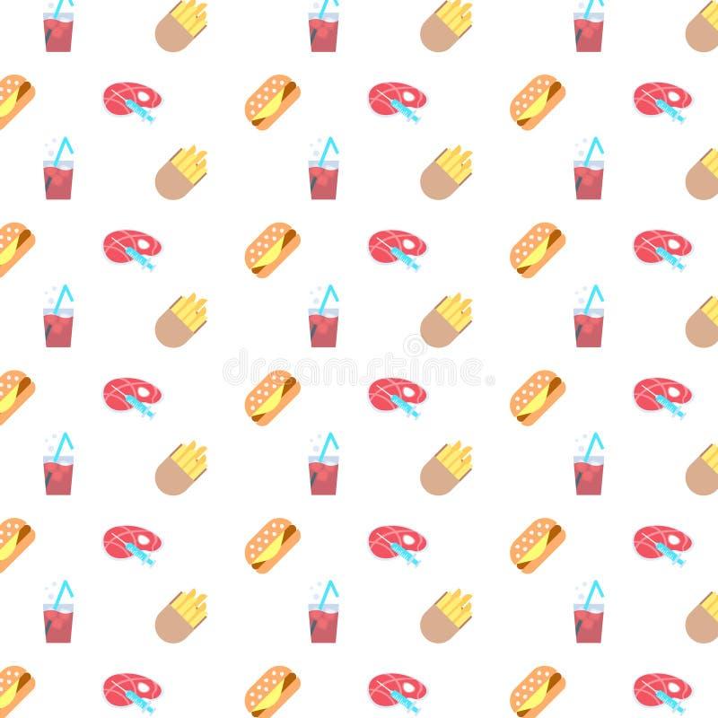 Fastfoodzeichenpommes-fritesburgerspritzeneinspritzungshormonmanipulationsstück der Fleischalkoholcocktailikone nahtlos lizenzfreie abbildung