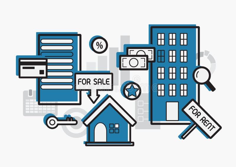 Fastighet f?r hyra och plan design f?r f?rs?ljning royaltyfri illustrationer