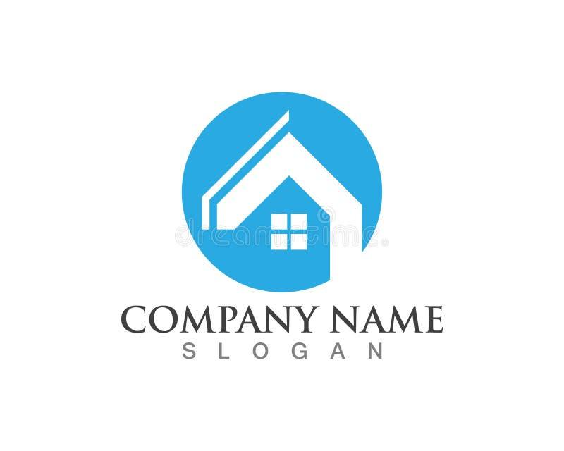 Fastighet och hem- logoer royaltyfri illustrationer