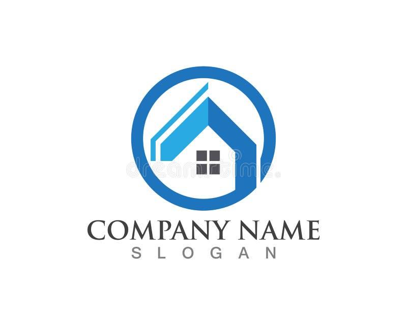 Fastighet och hem- logoer stock illustrationer