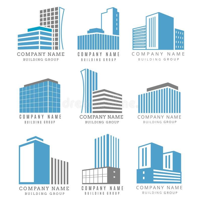 Fastighet uppsättning för logo för konstruktionsaffär med vektorbyggnadssymbolen royaltyfri illustrationer
