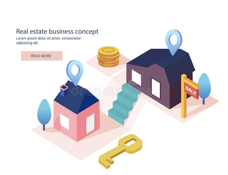 Fastighetaffärsidé med hus Inhysa till salu, amorteringförsäljningen, kreditering, hyra Det bästa läget, vektorillustration royaltyfri illustrationer