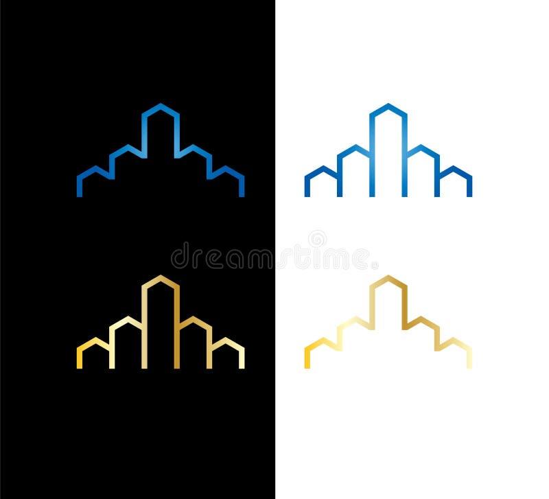 Fastighetaff?rslogo Egenskapsutveckling, byggnad och konstruktionslogo vektor illustrationer