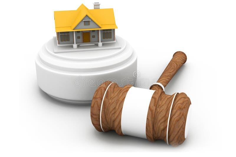 Fastighetauktion, hus och auktionsklubba vektor illustrationer