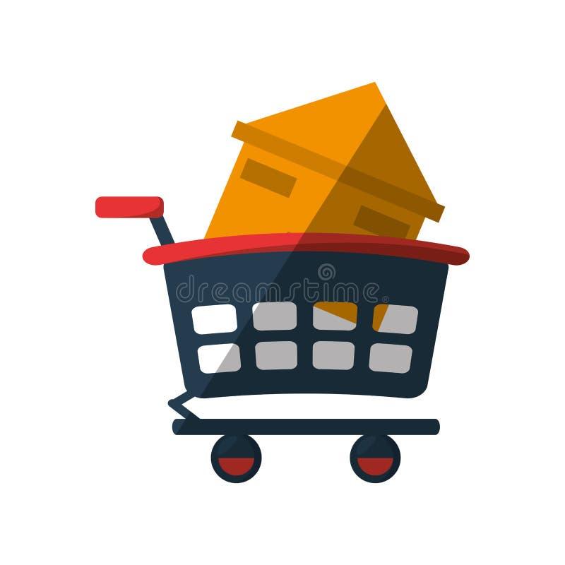 fastighethuset shoppar vagnsskugga vektor illustrationer