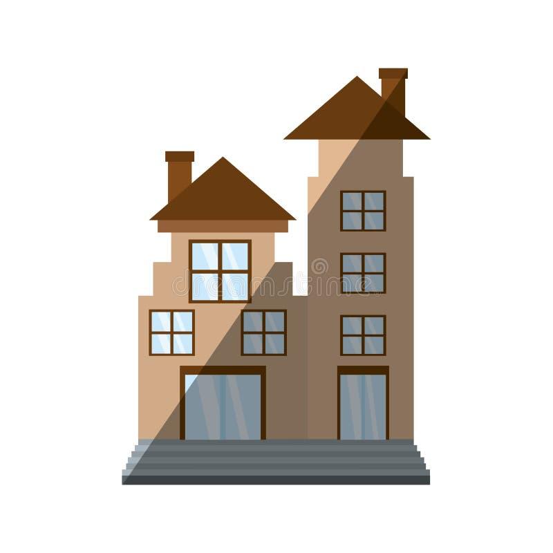 fastighethyreshusskugga royaltyfri illustrationer