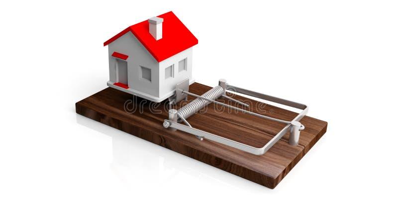 Fastighetlånfälla Hus på en musfälla som isoleras på vit bakgrund illustration 3d royaltyfri illustrationer