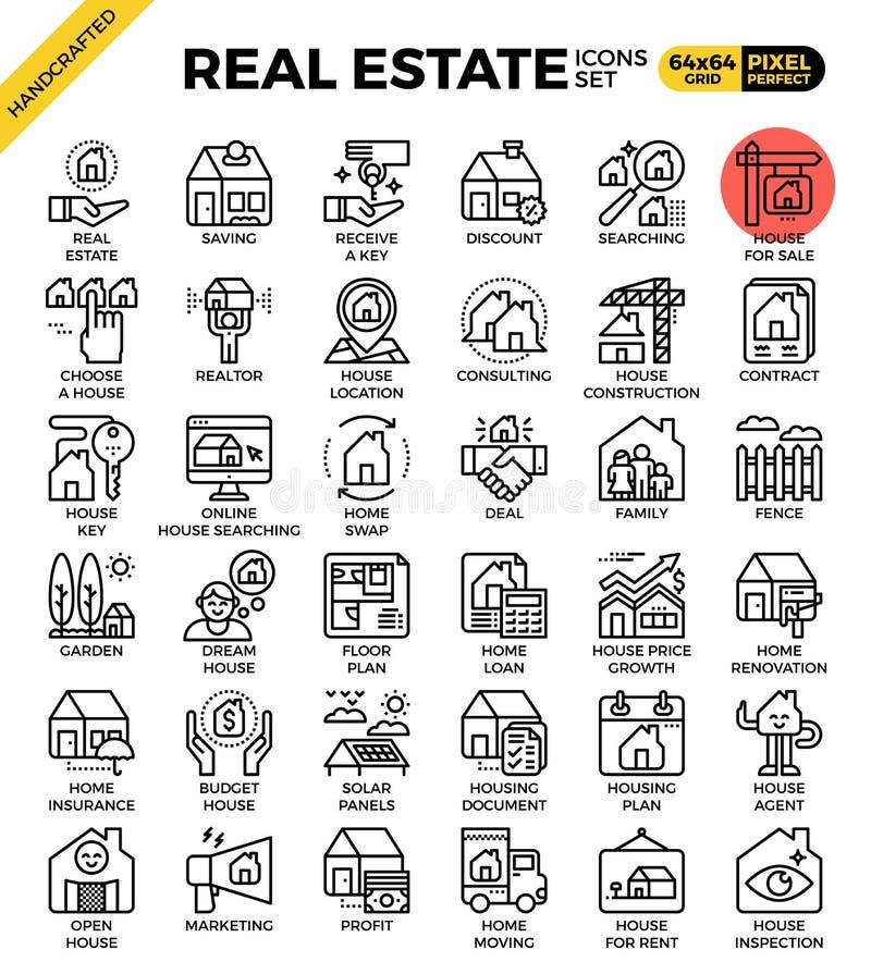 Fastighetlinje symbolsuppsättning royaltyfri illustrationer