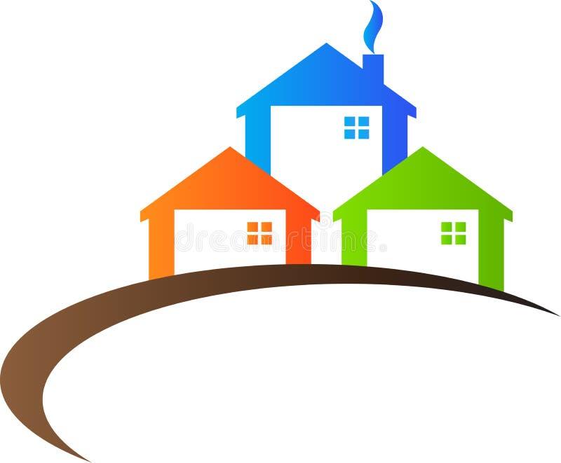 Fastighetlogo stock illustrationer