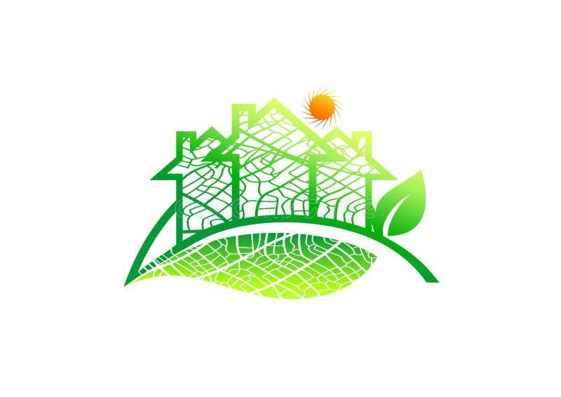 Fastighetlogo, hem- bladsymbol, organiskt arkitekturtecken, naturlig byggnad, konstruktion för sol- energi som arbeta i trädgårde vektor illustrationer