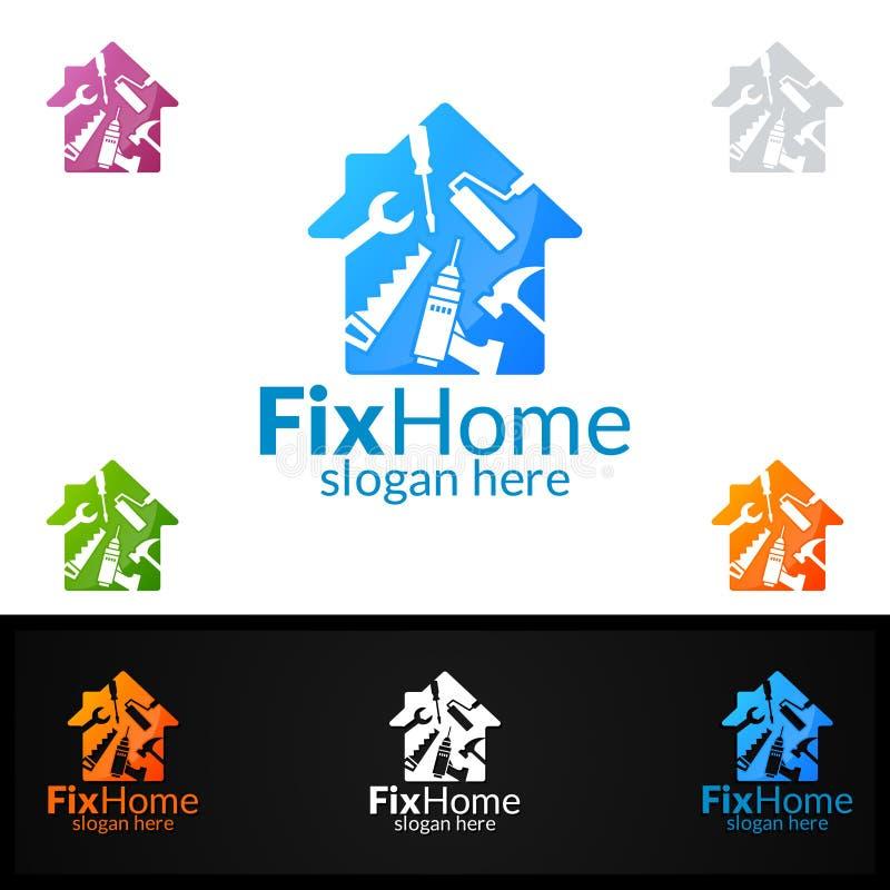Fastighetlogo, hem- vektor Logo Design som är passande för arkitektur, faktotum, bricolage, Diy för knipa och för en annan applik royaltyfri illustrationer