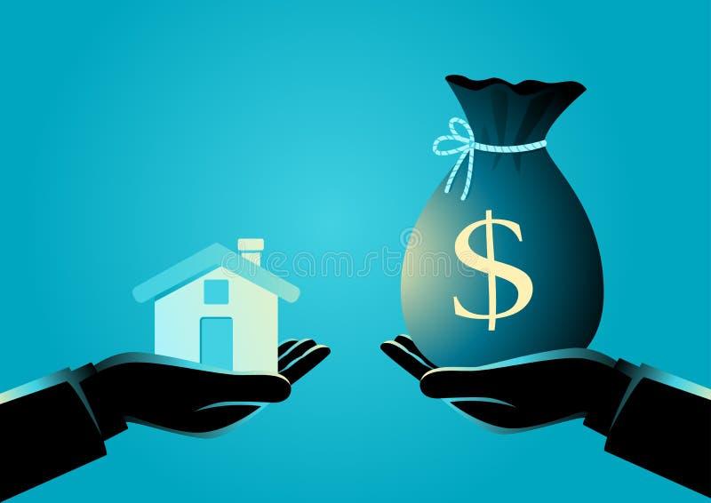 Fastighetsmäklareöverlåtelse ett hus till en köpare vektor illustrationer