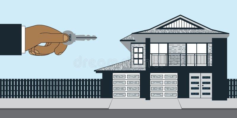 Fastighetsmäklare House som är till salu med tangent royaltyfri illustrationer