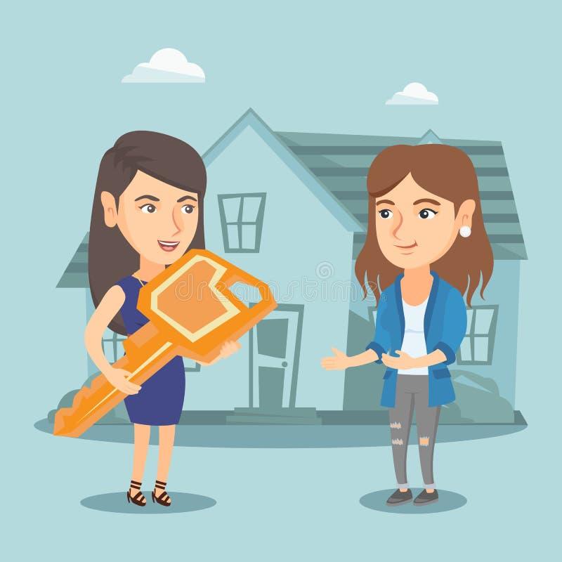 Fastighetsmäklare som ger tangent till en ägare för nytt hus royaltyfri illustrationer
