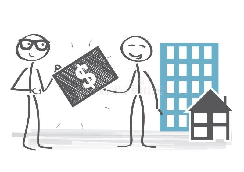 Fastighetsmäklareillustration royaltyfri illustrationer